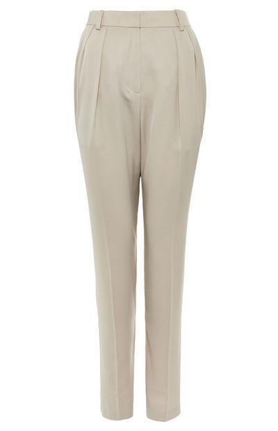 Sandfarbene Premium-Hose mit weitem Bein