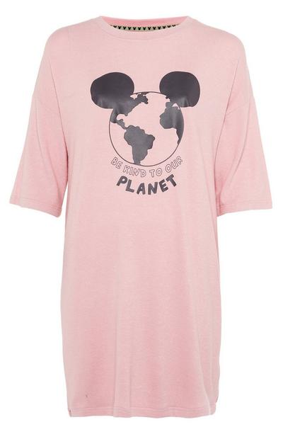 Roze T-shirt Primark Cares met slogan Be Kind To Our Planet en Disney Mickey