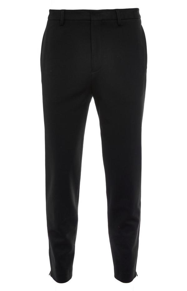 Premium Black Zip Detail Trousers