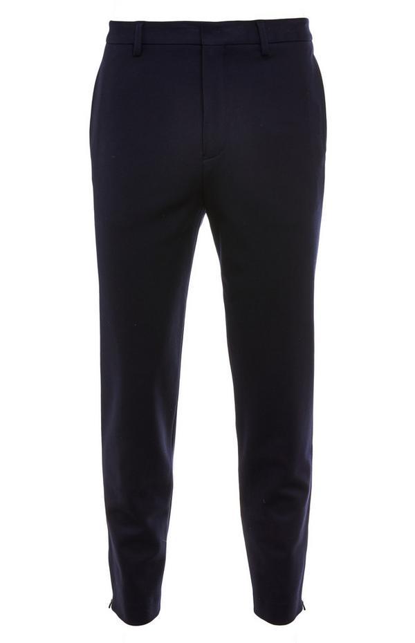 Premium donkerblauwe broek met ritsdetail