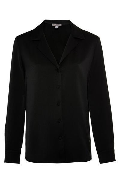 Premium zwart pyjamaoverhemd