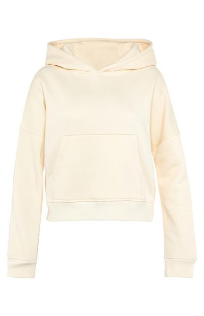 Cream Crop Pocket Hoodie