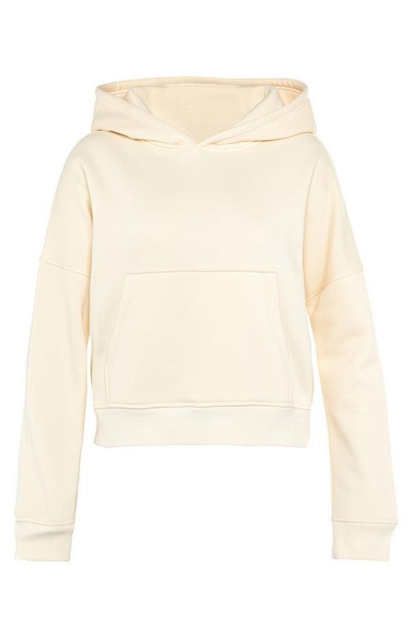 Crèmekleurige korte hoodie met zakken