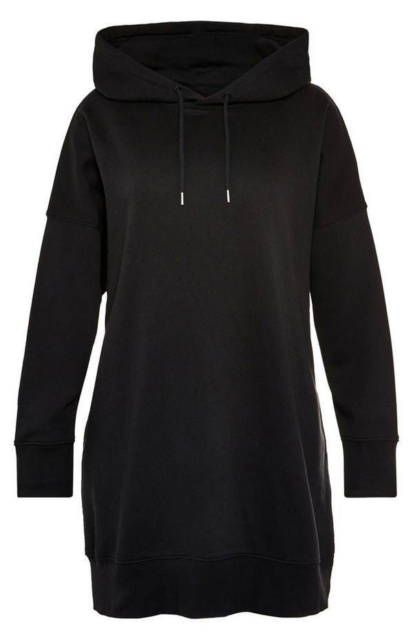 Robe sweat à capuche longue noire