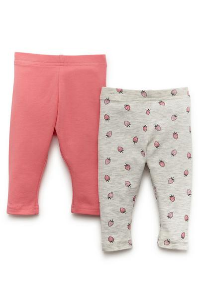 Lot de 2 leggings rose et gris bébé fille