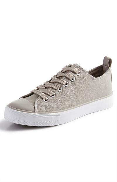 Taupe Classic Faux PU Leather Lowtop Trainers