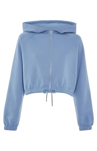 Blue Pintuck Zip Up Cropped Hoodie