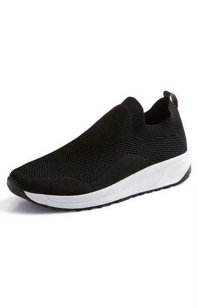 Black Knit Slip On Trainers