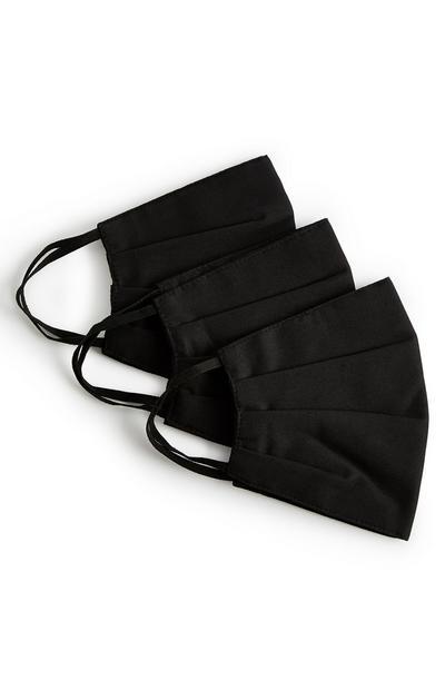 Črna maska za obraz, 3 kosi