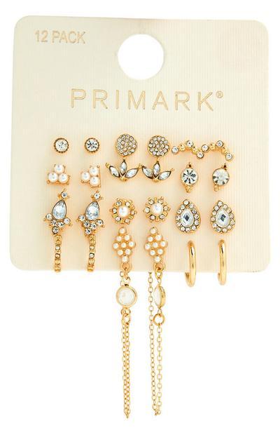 Pack de 12 pares de pendientes surtidos dorados con perlas