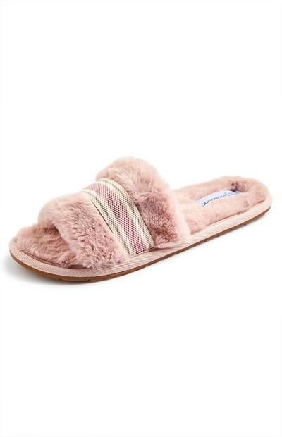 Blush Pink Faux Fur Grosgrain Trimmed Slide On Slippers