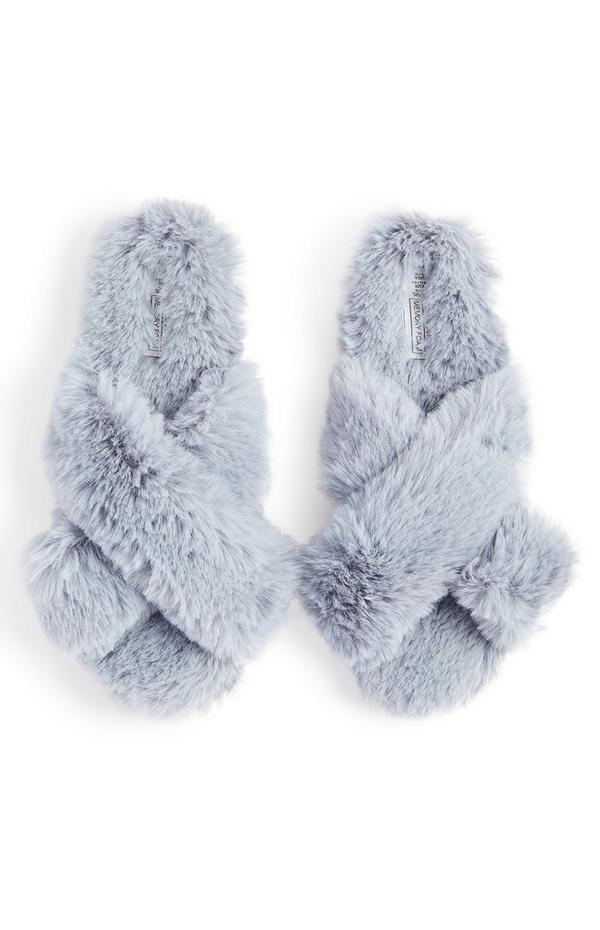 Grey Cross Strap Faux Fur Slippers
