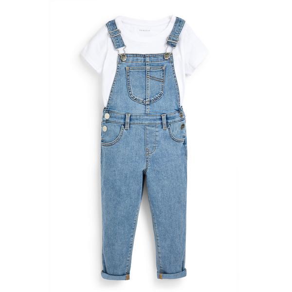 Blaue 2-in-1-Jeans-Latzhose (kleine Mädchen)