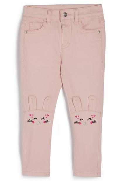 Younger Girl Pink Bunny Knee Twill Pants