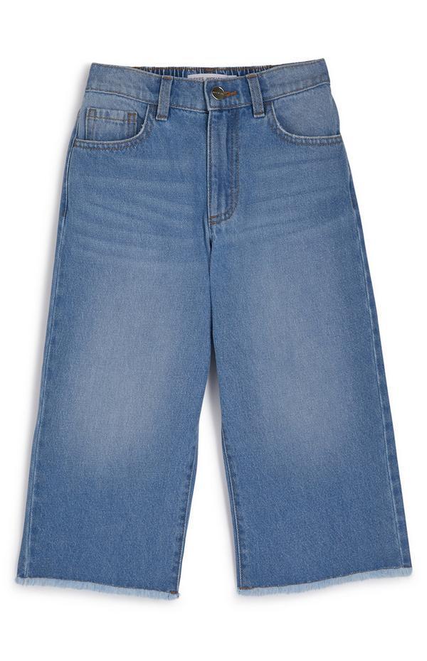 Modre halo kavbojke iz džinska s širokimi hlačnicami za mlajša dekleta