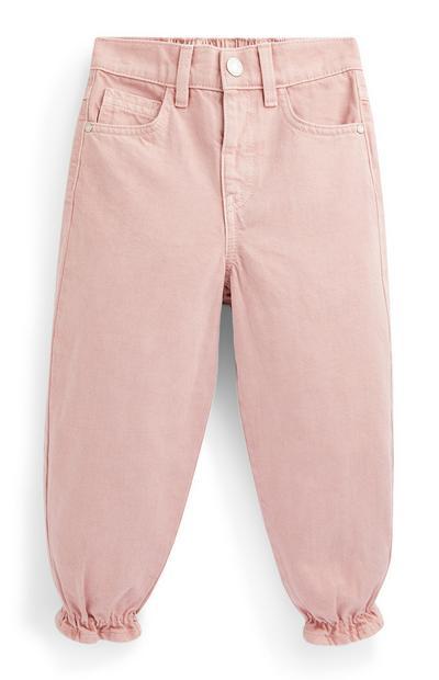Pantalón de chándal rosa palo de sarga para niña pequeña
