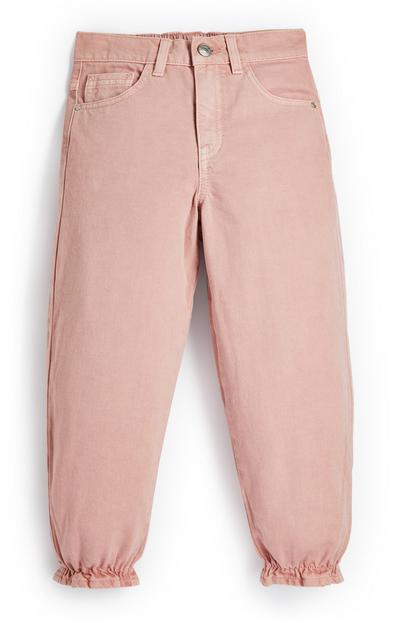 Younger Girl Pink Halo Twill Joggers