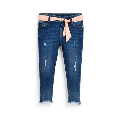 Younger Girl Belted Blue Denim Jeans