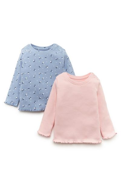 2-Pack Baby Girl Blue And Pink Ribbed Tops