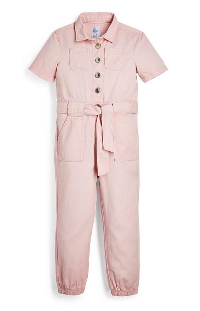 Younger Girl Pink Halo Twill Boilersuit