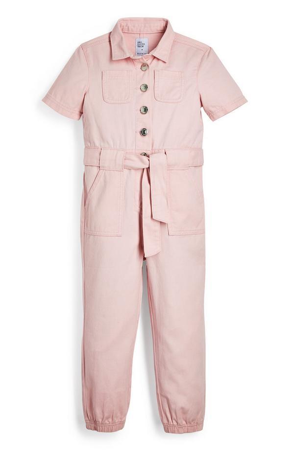 Roze overall van twill-katoen voor meisjes