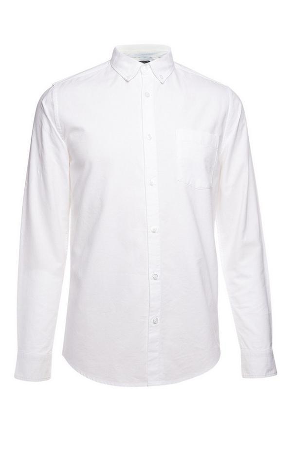 Camicia Oxford bianca a maniche lunghe