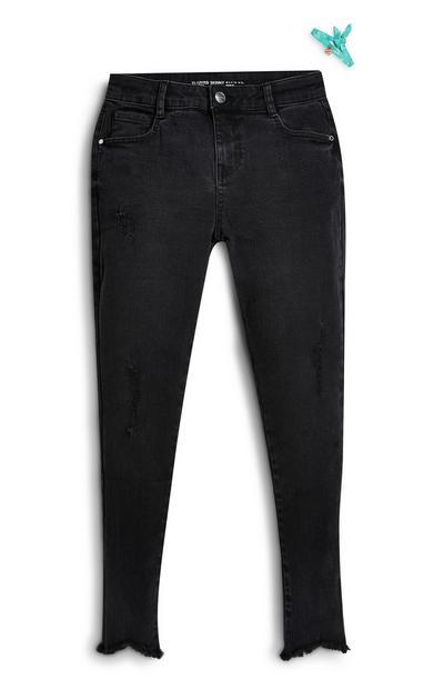 Conjunto pulseira/calças ganga corte justo rapariga preto
