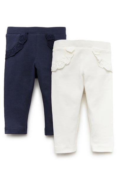 Lot de 2 leggings bleu marine et blanc à volants bébé fille