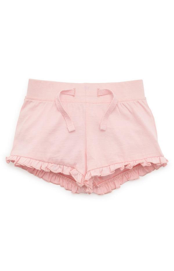 Baby Girl Pink Ruffle Shorts