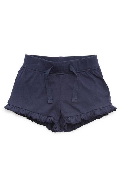 Mornarsko modre dekliške kratke hlače z naborki za dojenčke