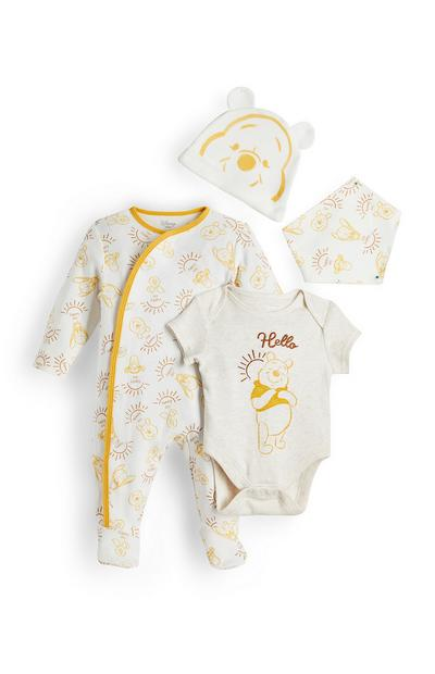 Newborn Baby Cream And Yellow Winnie The Pooh Outfit 4 Piece Set