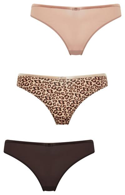 Mixed Animal Print Brazilian Briefs 3 Pack