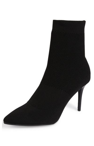 Black Stretch Knit Pointed Toe Boots