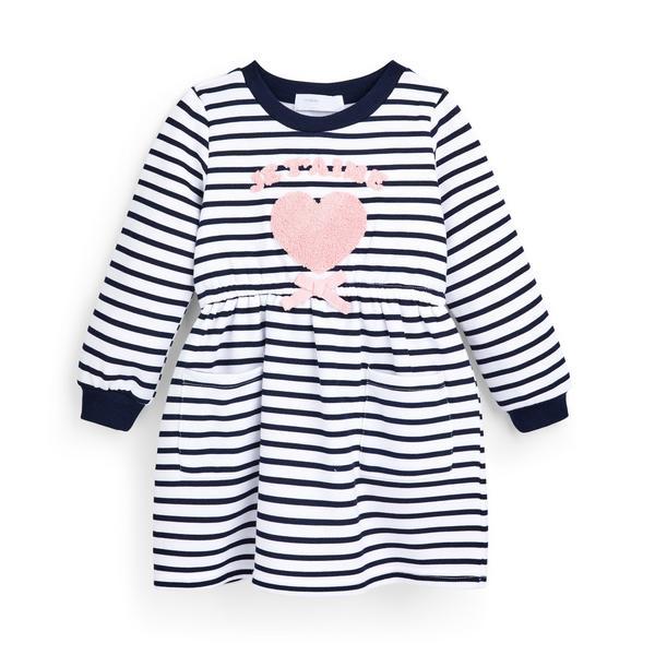 Gestreiftes, strukturiertes Pulloverkleid (kleine Mädchen)