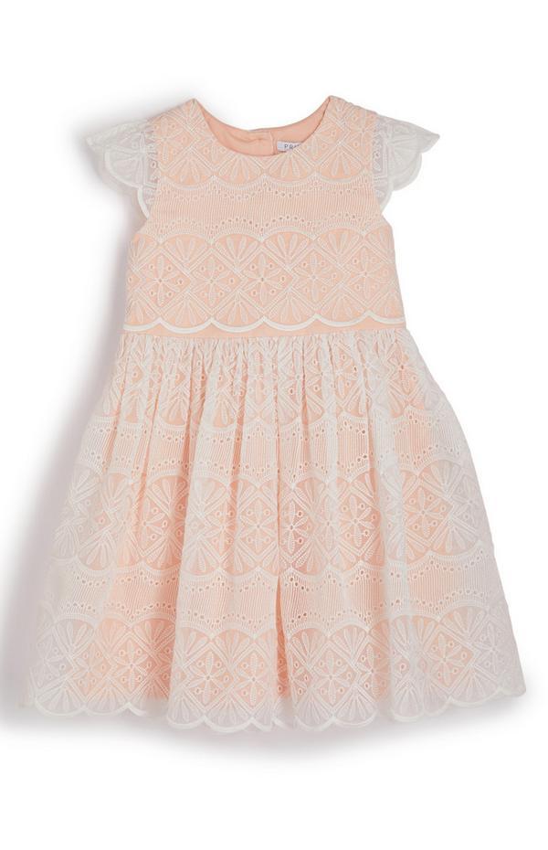Vestido de organza y ganchillo color melocotón para niña pequeña