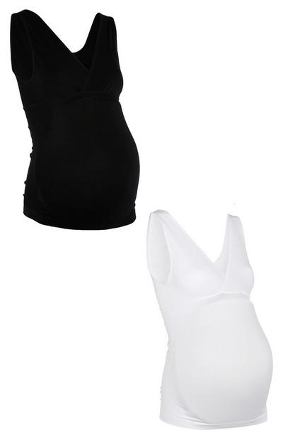 Maternity Black and White Cami Tops 2 Pack