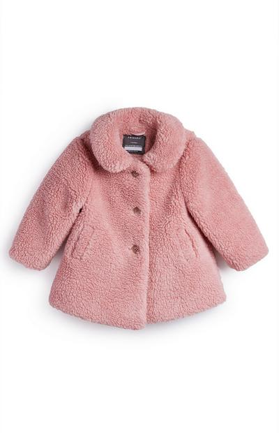 Abrigo de pelo sintético rosa para bebé niña