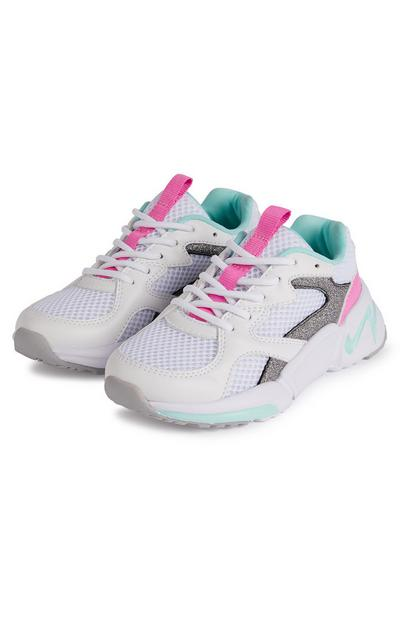 Younger Girl White And Pink Mesh Chunky Trainers