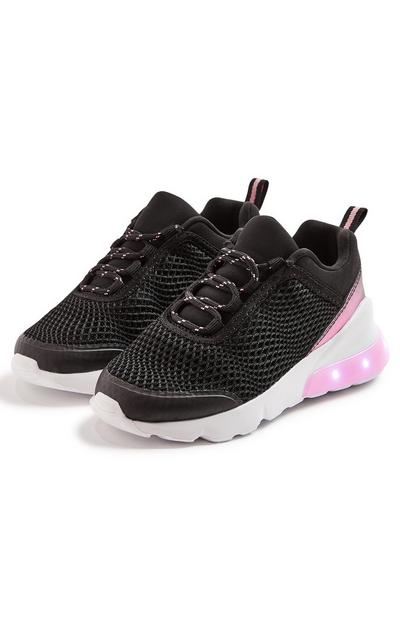 Younger Girl Black Light Up Trainers