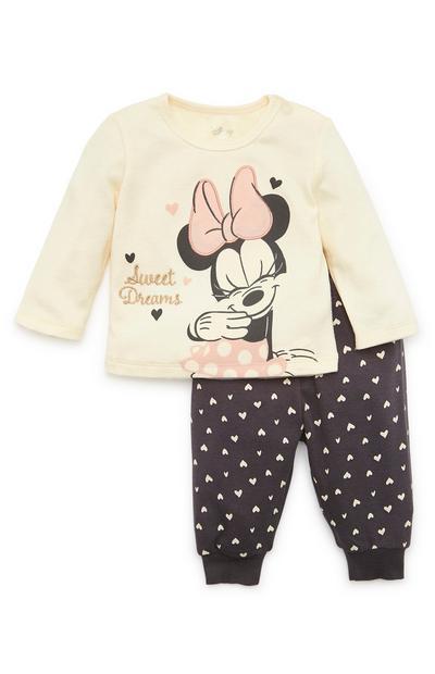 Baby Girl Disney Minnie Mouse Cream Print Pyjamas