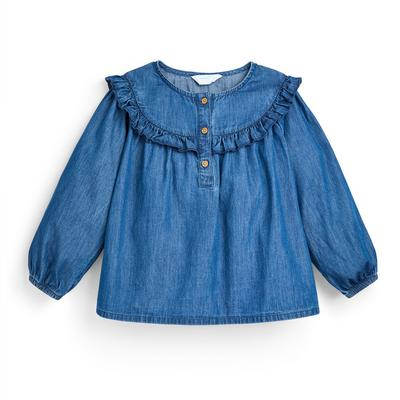 Blusa ganga folhos menina azul