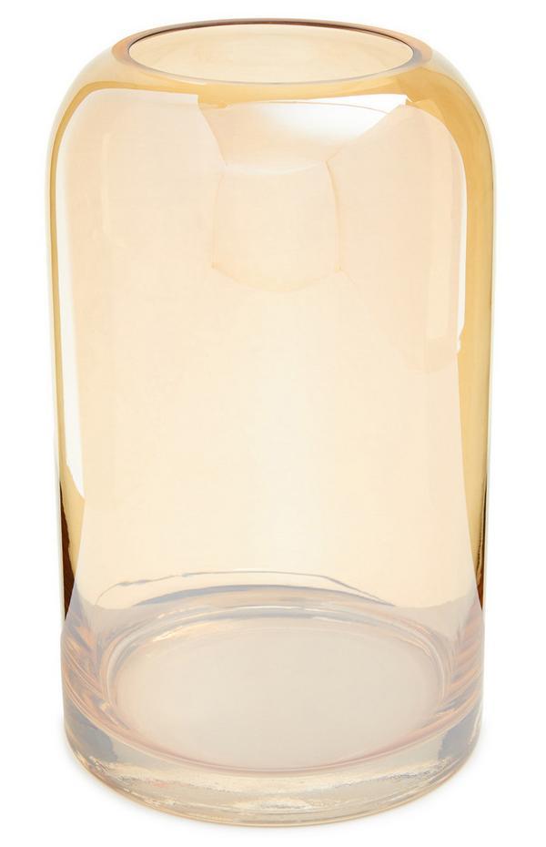 Bernsteingelbe, glockenförmige Glasvase