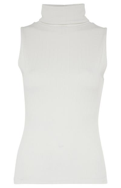 Camisola s/ mangas gola alta branco