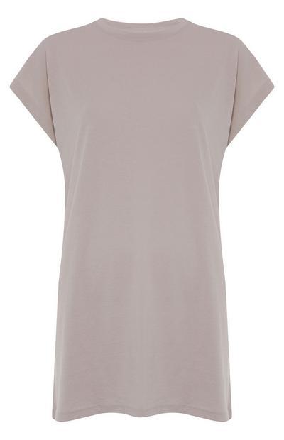 Altrosafarbenes, langes T-Shirt im Boyfriend-Look