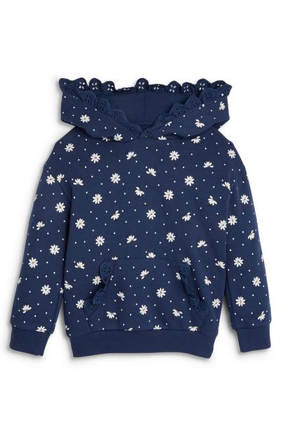Younger Girl Navy Floral Lace Trim Hoodie