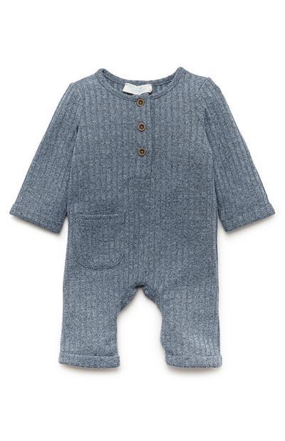 Blauwe onesie van ribstof voor pasgeboren baby's (jongens)