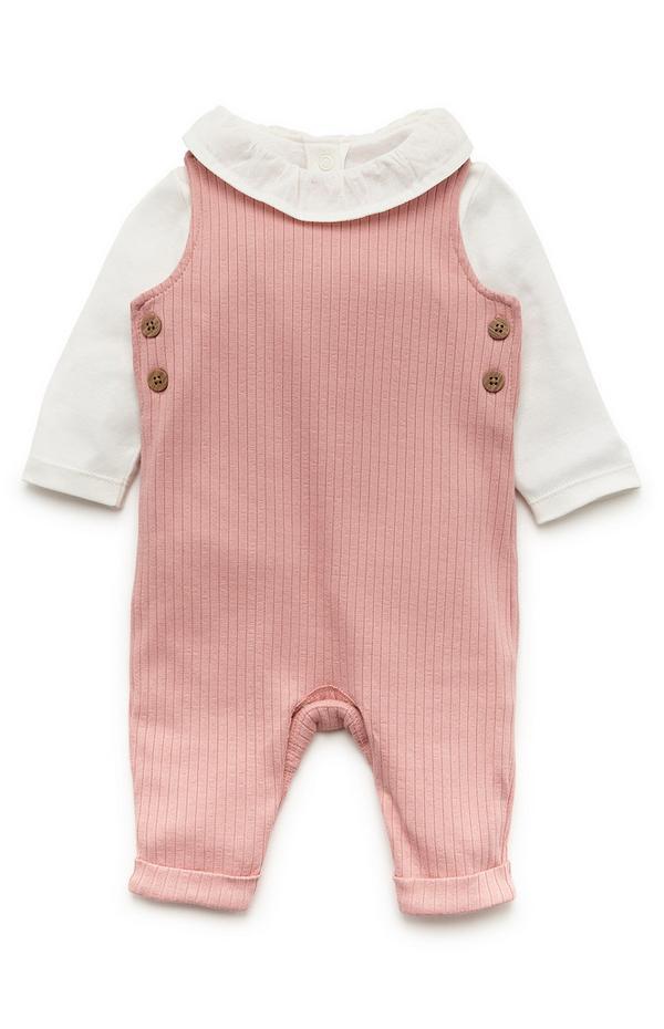 Newborn Baby Girl Pink Ribbed Dungaree Set