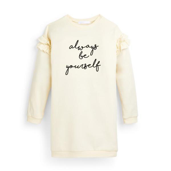Ecrufarbenes Pulloverkleid mit Rüschen und Slogan (Teeny Girls)