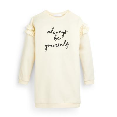 Older Girl Ecru Slogan Frill Sweater Dress