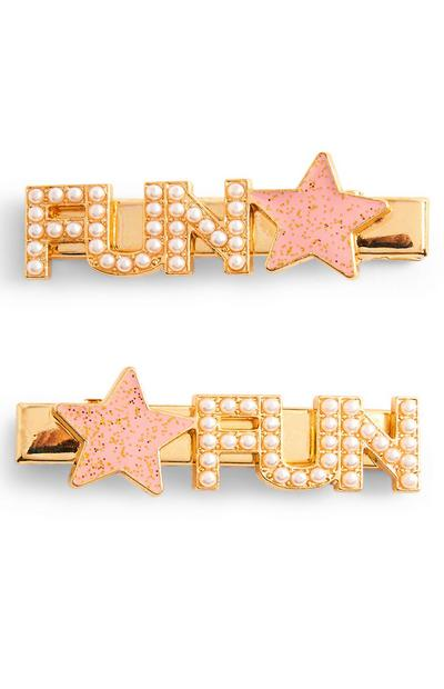 Goldtone Fun Hair Clips